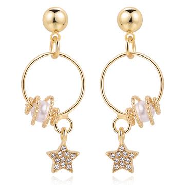 個性圓圈星星珍珠 耳針/無耳洞黏貼式耳環