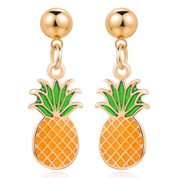 熱帶清新水果鳳梨 無耳洞黏貼式耳環