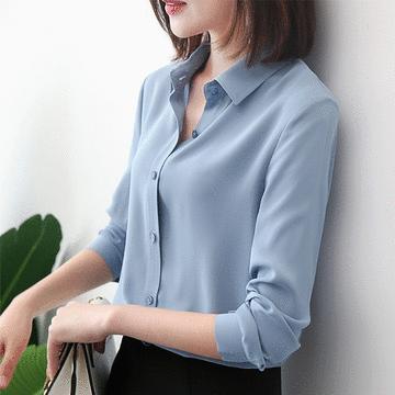 韓版休閒雪紡長袖襯衫
