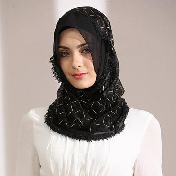 穆斯林雪紡時尚蕾絲套頭款頭巾