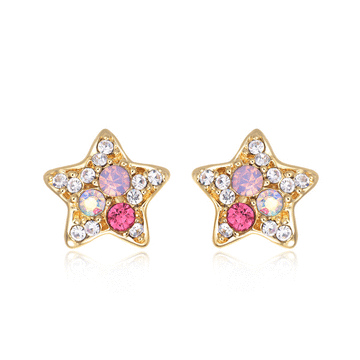 炫彩亮鑽可愛星星黏式耳環