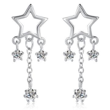 閃亮璀璨星星水滴鋯鑽黏式耳環