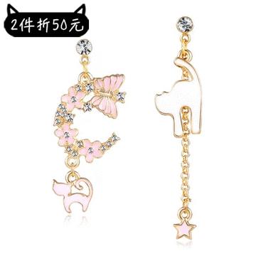 【2件折50元】粉色櫻花貓咪星星不對稱 耳針/黏式耳環