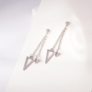 韓版三角形尖錐流蘇 耳針/無耳洞黏貼式耳環
