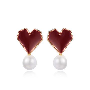 韓系時尚愛心珍珠 無耳洞黏貼式耳環