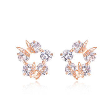 【2件85折】氣質立體雙蝴蝶鑲鑽黏式耳環