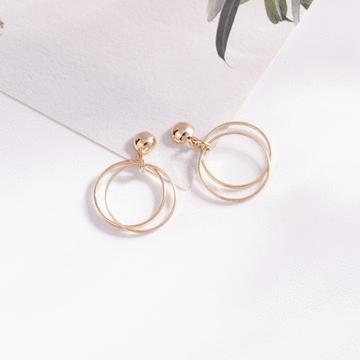 時尚簡約幾何圖形 無耳洞黏貼式耳環