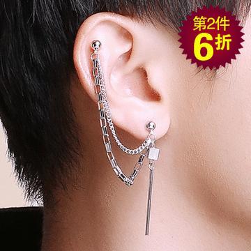 【第2件6折】韓版單邊立方體圓柱鏈條 耳針/無耳洞黏貼式耳環