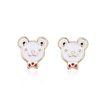 可愛領結小熊 耳針/黏式耳環