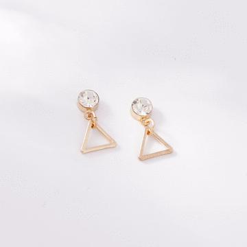 極簡幾何精緻三角 耳針/無耳洞黏貼式耳環