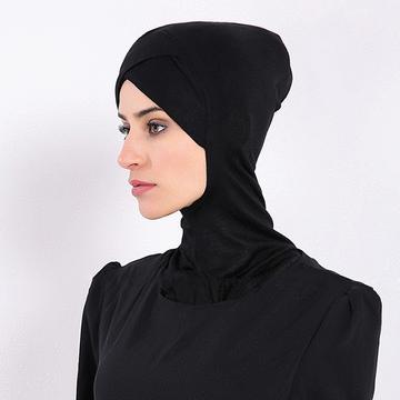穆斯林純色四層摺疊棉質打底帽