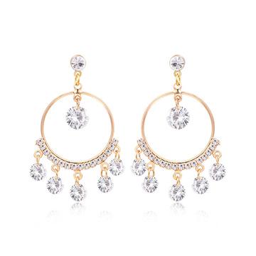 韓版氣質金屬圓環鑲鑽 耳針/黏式耳環