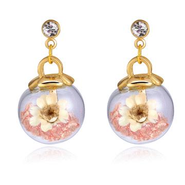 彩色水晶透明玻璃球乾花黏式耳環