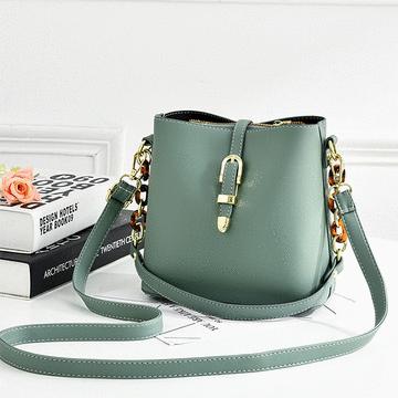 韓版清新時尚側背水桶包