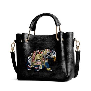 多彩大象刺繡手提水桶包