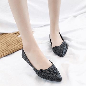 時尚編織尖頭平底鞋