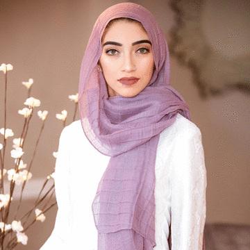 穆斯林純色玻璃紗鬆餅格長頭巾