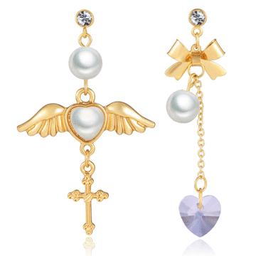 天使翅膀桃心水晶玻璃不對稱 無耳洞黏貼式耳環
