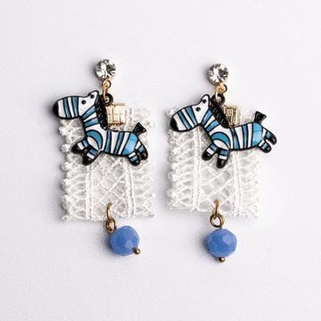 萌趣蕾絲藍色斑馬 耳針/無耳洞黏貼式耳環