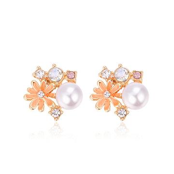 珍珠雛菊鑲鑽黏式耳環