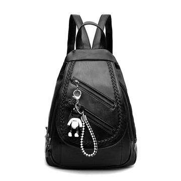 韓版小熊雙拉鏈款後背包