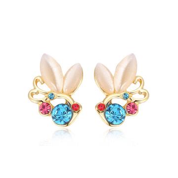 鑲鑽貓眼石蝴蝶黏式耳環