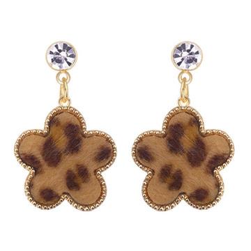 韓版豹紋幾何圖形 無耳洞黏貼式耳環