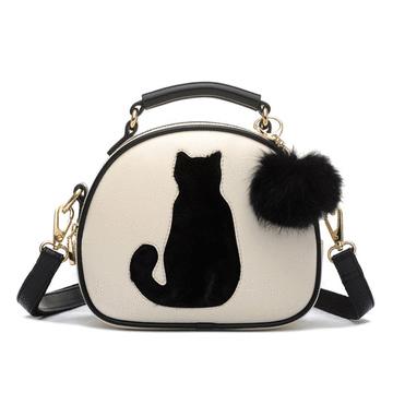 童趣可愛兔貓毛球手提小圓包