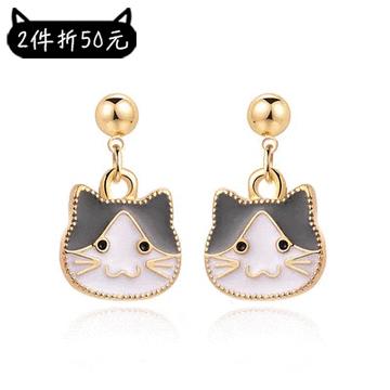 【2件折50元】卡通小貓咪頭像黏式耳環