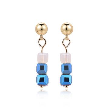 藍色漸層立體方形 耳針/黏式耳環