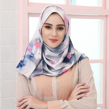 穆斯林珠光緞面印花長頭巾