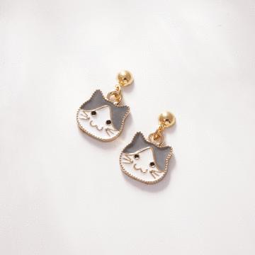 卡通小貓咪頭像 無耳洞黏貼式耳環
