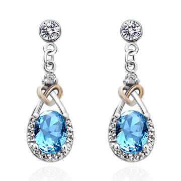 蔚藍之心水滴亮鑽 耳針/黏式耳環