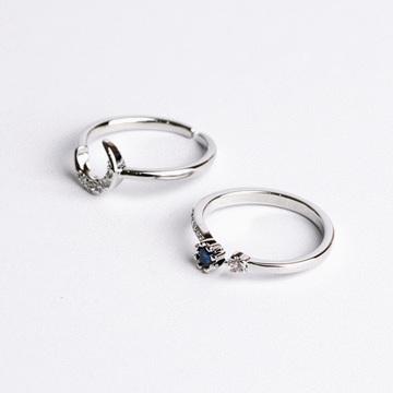 二合一星月鑲鑽開口戒指