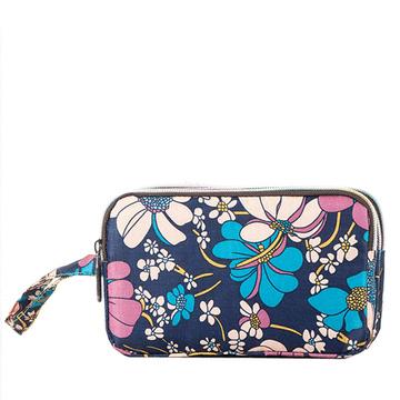 輕便簡約花卉印花三層大容量小手包