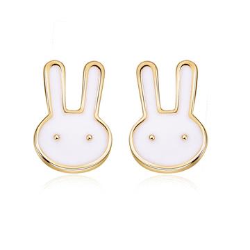 童趣卡通兔兔黏式耳環