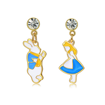 愛麗絲與白兔先生不對稱黏式耳環