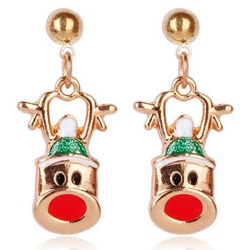 【3款】聖誕節限定-麋鹿彩球聖誕帽 耳針/無耳洞黏貼式耳環