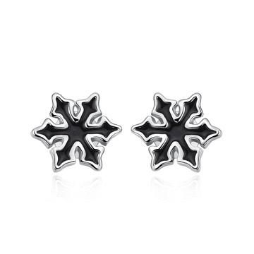 帥氣性格黑色雪花黏式耳環