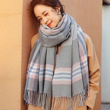 暖暖格紋仿羊絨流蘇圍巾