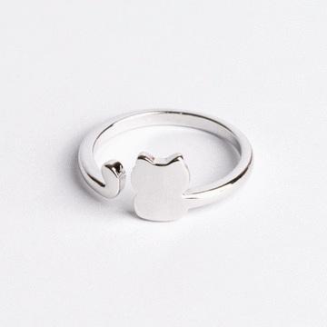 清新簡約幾何小貓開口戒指