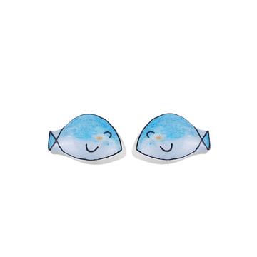藍色小魚熱縮片黏式耳環