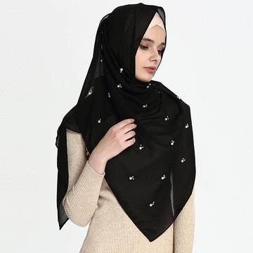 穆斯林純色珍珠款長頭巾