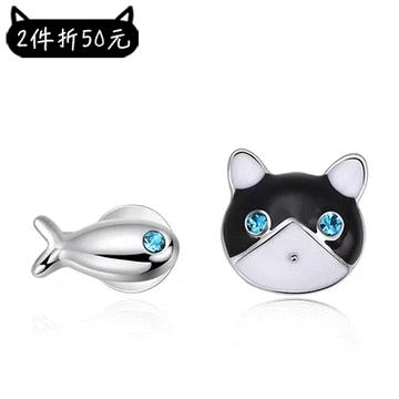【2件折50元】貓與小魚不對稱黏式耳環