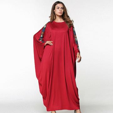 純色拼接蝙蝠袖連衣長裙