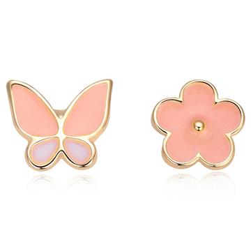 花與蝴蝶不對稱 無耳洞黏貼式耳環