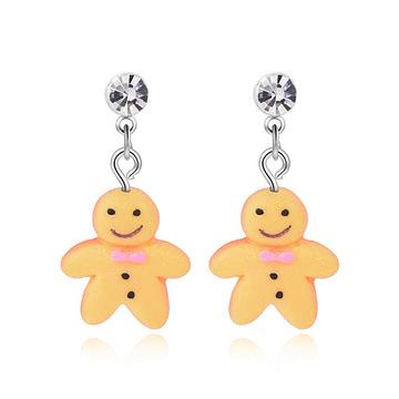 【迎春童款75折】甜甜薑餅人黏式耳環