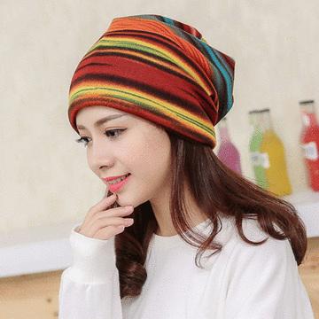 韓版多功能條紋套頭帽