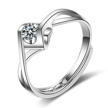 扭轉愛情單鑽開口戒指(4mm)