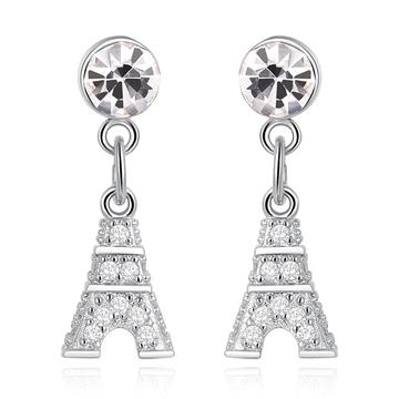 立體閃耀鑲鑽鐵塔 無耳洞黏貼式耳環